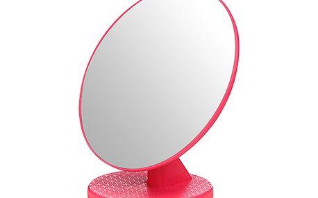 Kosmetické zrcátko s plastovým stojánkem - růžové