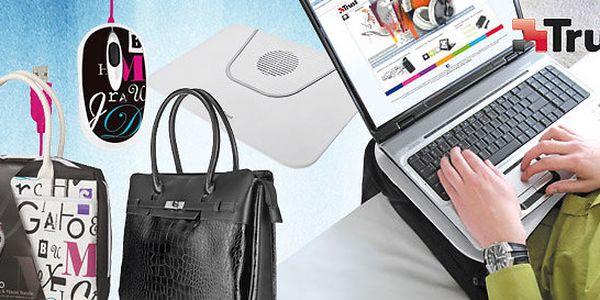 Tašky, myši i stojan na notebook