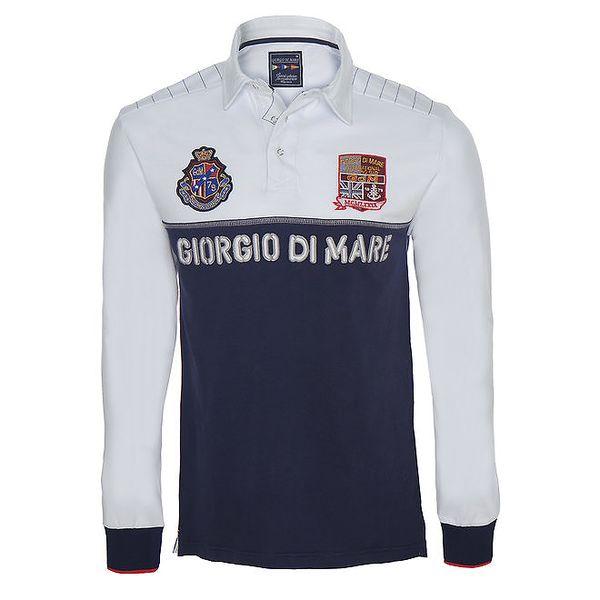 Pánské modro-bílé polo tričko s dlouhými rukávy Giorgio di Mare