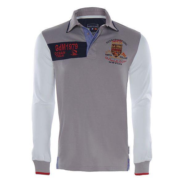 Pánské béžovobílé polo tričko Giorgio di Mare