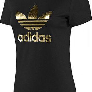 Dámské tričko Adidas ADI Tee Trefoil Black/Gold z vysoce kvalitních bavlněných materiálů