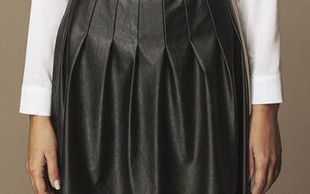 Dámská černá skládaná koženková sukně Ambigante