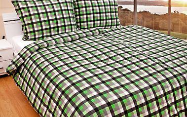 Ariatex flanelové povlečení Kostka zelená, 140 x 200 cm, 70 x 90 cm