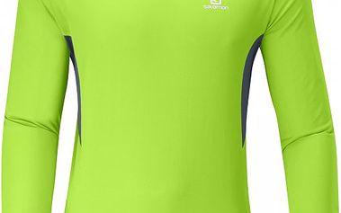 Pánské běžecké triko Salomon Trail LS Tee M Organic Green/Dark Cloud s otvory pro odvětrávání