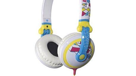 Bílá sluchátka s barevným potiskem Bench