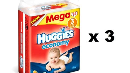 Huggies Economy 3 Mega (3x74 ks) - 222 ks