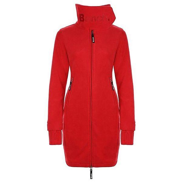 Dámský červený fleecový kabát s límcem Bench