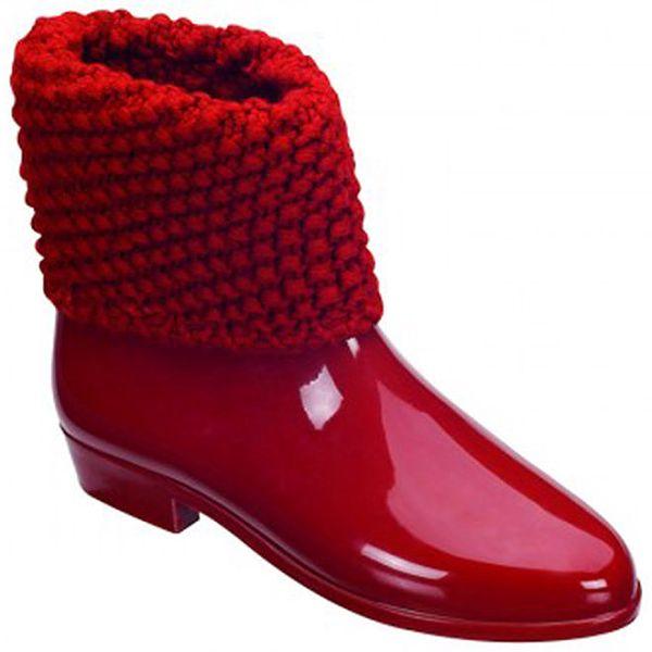 Dámské červené kotníčkové boty s nápletem Melissa