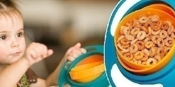 VYPRODEJ ! Gyro Bowl miska pro děti. Nezávadný materiál a praktické řešení, brání vysypání či vylití jídla