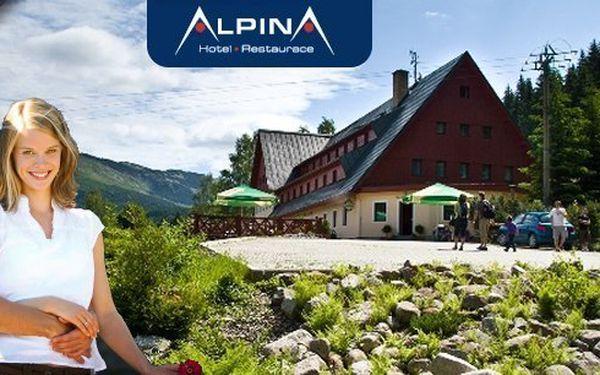 LÉTO 2014 - pobyt v hotelu Alpina*** Špindlerův Mlýn pro dva s polopenzí jen 100 metrů od lanovky Hromovka. Snídaně, večeře, sauna, bobová dráha, výletní vláček, kola i koloběžky se slevou! Super turistické podmínky a fascinující panorama Krkonoš!