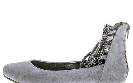 Dámské šedé boty s řetízky 1to3