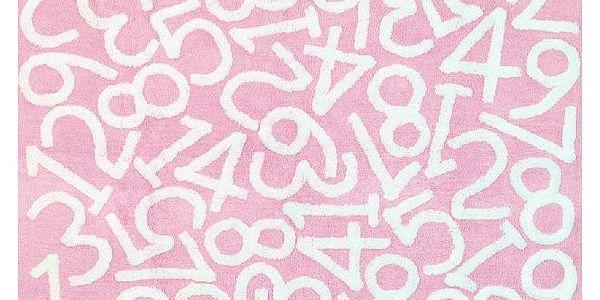 Koberec Números 160x120 cm, růžový