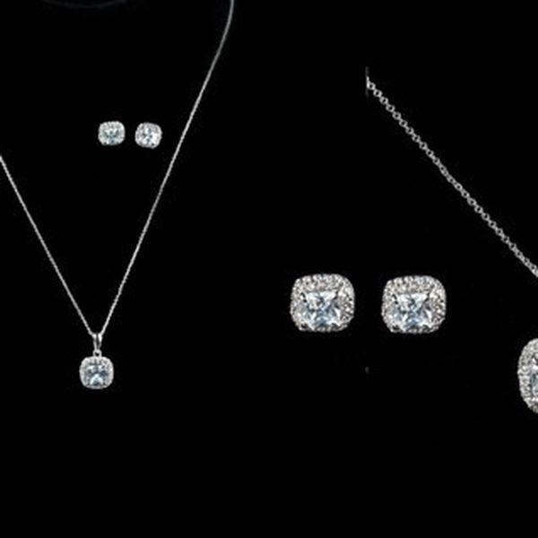 Luxusná sada náhrdelníka s náušnicami so syntetickými bielymi zirkónmi potežená platinou pre dlhotrvajúci vzhľad!