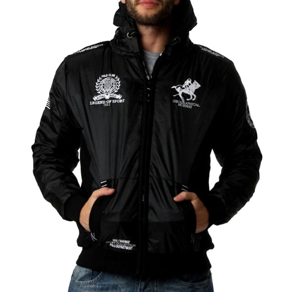 Pánská černá bunda s kapucí a dekorativními prvky Geographical Norway