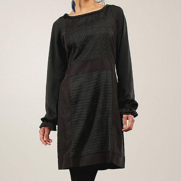 Dámské černé šaty s dlouhým rukávem a vzory Angels Never Die