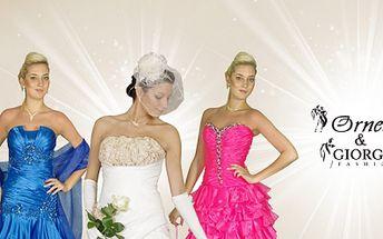 SPOLEČENSKÉ nebo SVATEBNÍ ŠATY pro nevěsty či ženichy s 50% slevou! 1000 Kč za voucher v hodnotě 2000 Kč na půjčení nebo nákup společenských či svatebních šatů!