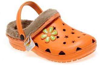Oranžové pantofle s kožíškem
