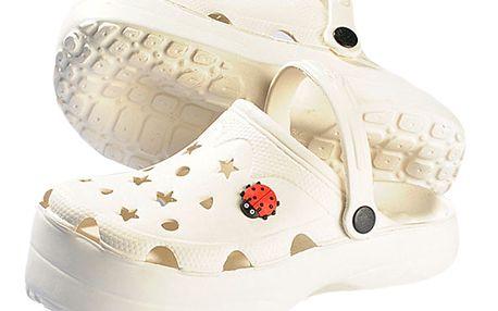 Bílé zdravotní pantofle na bolavá záda a celulitidu