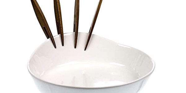 Velká miska na chuťovky se čtyřmi vidličkami - 21x18 cm