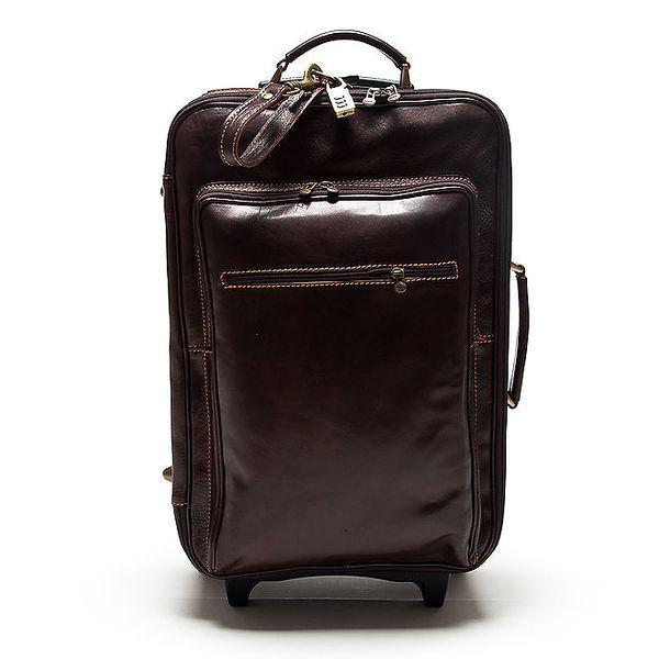 Dámský tmavě hnědý kufr na kolečkách Roberta Minelli