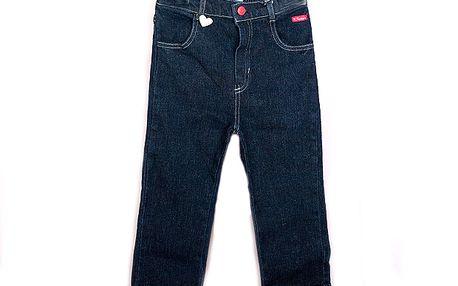 Dívčí džínové kalhoty se srdíčkem - tmavě modré