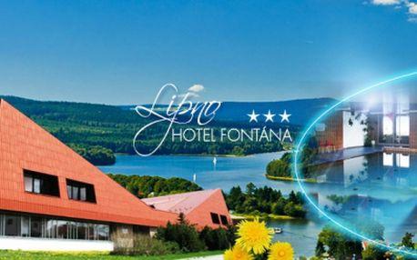 3 DNY v oblíbeném Hotelu Fontána*** na břehu Lipenské přehrady! Pobyt na 3 DNY pro DVA včetně POLOPENZE, neomezeného vstupu do BAZÉNU, FITNESS a dalších slev za 1999 Kč! Užijte si relax uprostřed krásné přírody se slevou 40%!