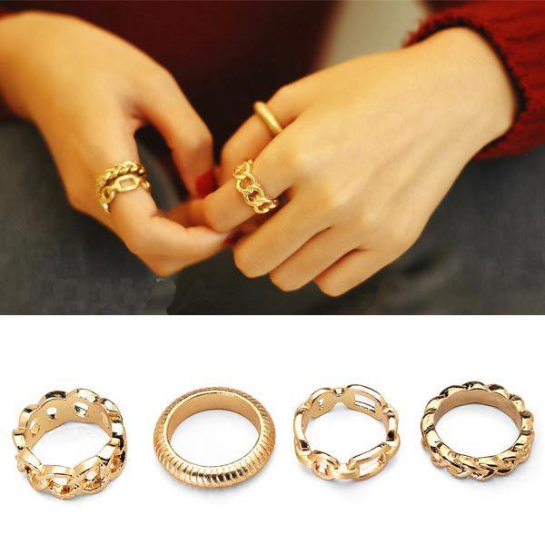 4 kusy prstýnků ve zlatém provedení a poštovné ZDARMA! - 6908324