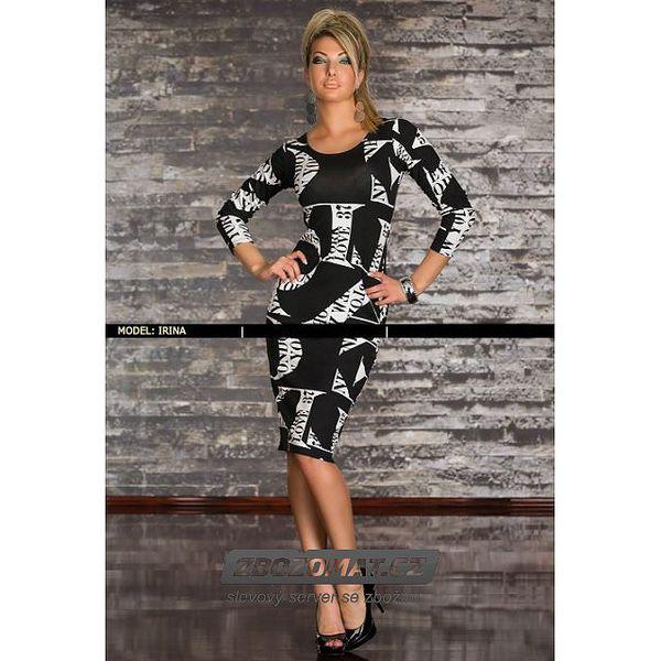 Černo-bílé šaty s písmeny - vel. M/L
