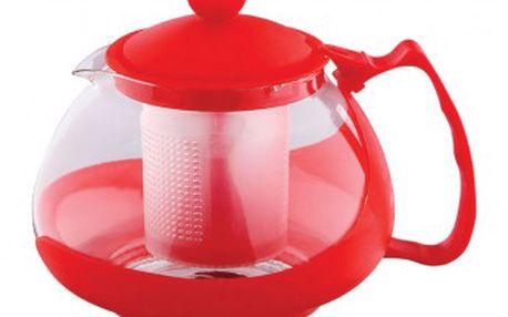 Konvice na čaj sklo plast 750 ml červená RENBERG RB-3026cerv