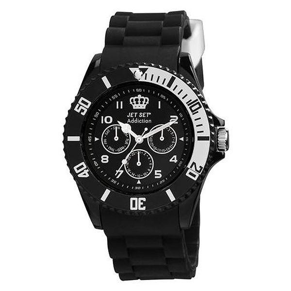 Černé plastové hodinky s kulatým ciferníkem Jet Set
