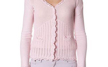Nádherný jemný romantický svetřík - lite pink 406