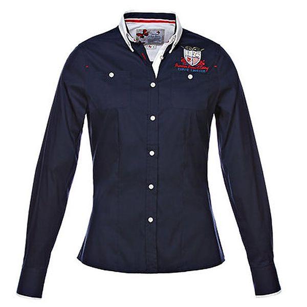 Dámská tmavě modrá košile s dlouhým rukávem a výšivkou M. Conte