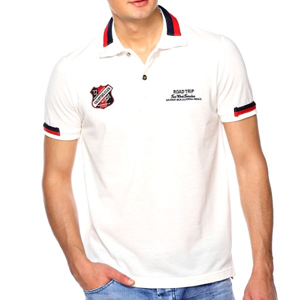 Pánské krémově bíle polo tričko M. Conte