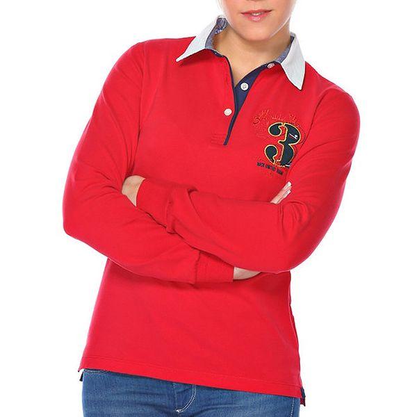 Dámské červené polo triko s číslicí M. Conte
