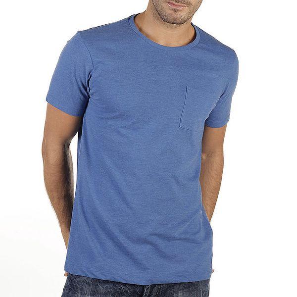 Pánské modré tričko s kapsičkou New Caro