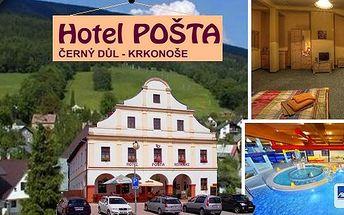 Krkonoše - Hotel Pošta***!2 nebo 3 dny pro 2 osoby s vynikající polopenzí! Přímo na náměstí v městě Černý Důl! Vrchlabí, Špindlerův Mlýn nebo třeba Jánské Lázně na dohled!