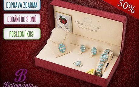 Světle modrá sada šperků Charles Delon