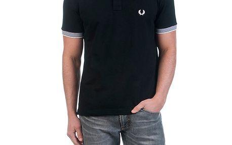 Pánské černé polo triko s pruhovaným límečkem Fred Perry