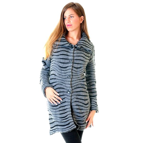 Dámský černo-šedý mohérový pletený kabátek Goa Goa