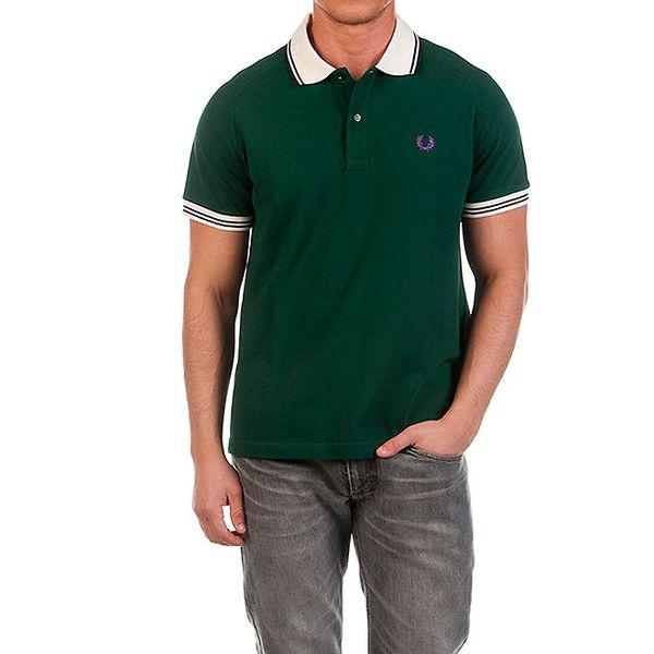 Pánské tmavě zelené polo triko s fialovou výšivkou Fred Perry