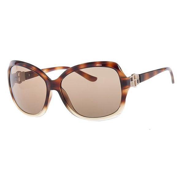 Dámské hnědé sluneční brýle se žíháním Guess
