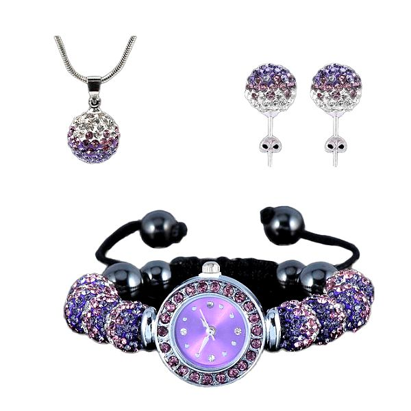 Dámský set hodinek, náušnic a náhrdelníku s fialovými zirkony Ma´dor