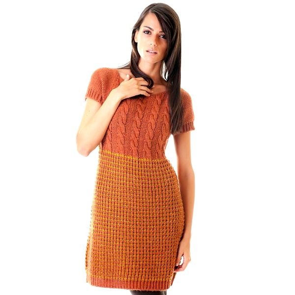 Dámské oranžové pletené šaty Goa Goa