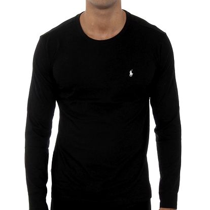 Pánské černé tričko Ralph Lauren s dlouhým rukávem