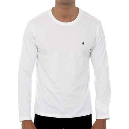 Pánské bílé tričko Ralph Lauren s dlouhým rukávem