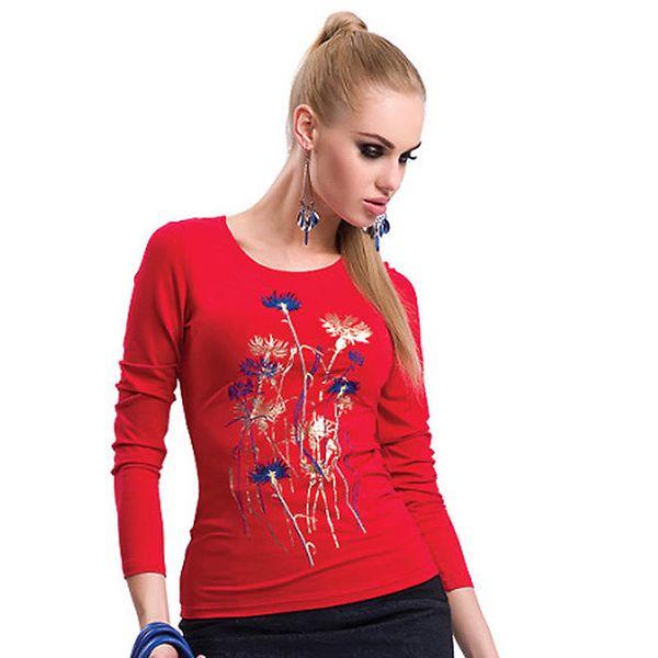 Dámské červené tričko s potiskem Zaps