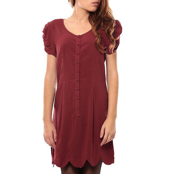 Dámské červené šaty s nabíranými rukávky My Little Poesy