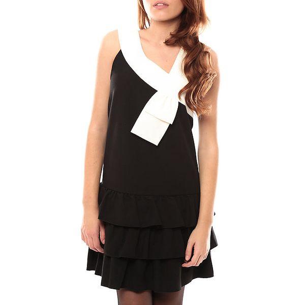 Dámské černé šaty s krémovým lemem My Little Poesy