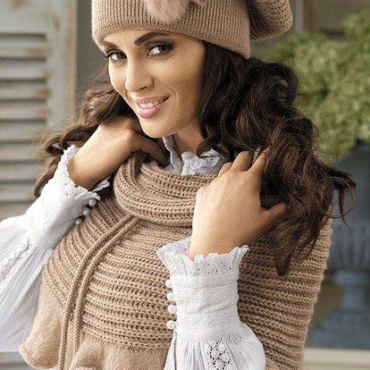 Trendová pletená čepice Fatima zdobená originální aplikací
