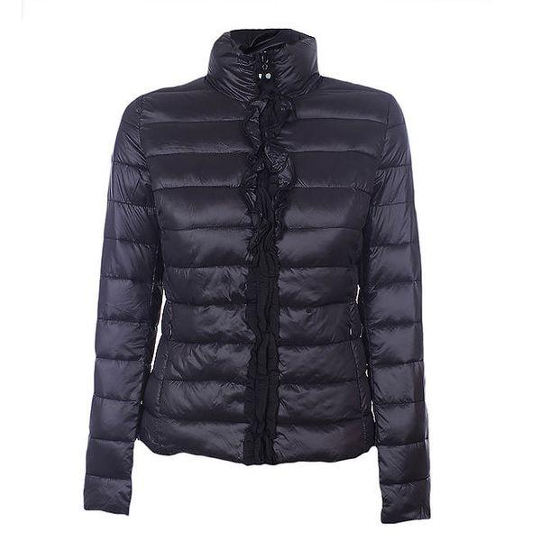 Dámská černá prošívaná bunda se stojáčkem a volánky Minority